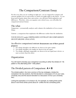 The Comparison/Contrast Essay