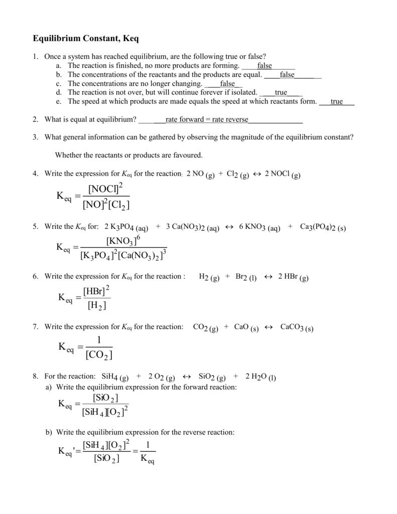 Equilibrium worksheet answers - SCH4U1-CCVI