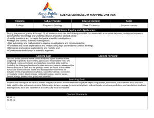 SCIENCE CURRICULUM MAPPING-Unit Plan Timeline Subject