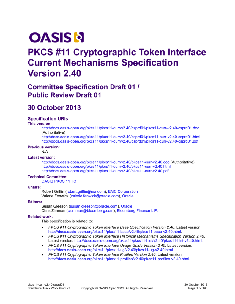 PKCS #11 Cryptographic Token Interface Current