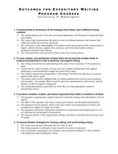 Rubric for English 131 - University of Washington