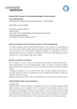 Position Offer: Post-doc in Pharmacoepidemiology (12 month