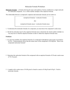 Molecular Formula Worksheet
