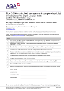 Nov 2016 controlled assessment sample checklist