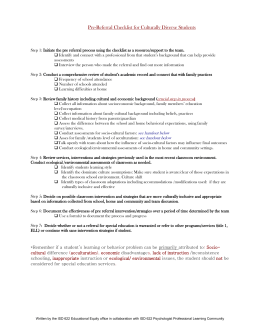 Pre-referral Checklist for Culturally Diverse Students
