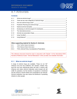 8.1 REFERENCE DOCUMENT Antivirals
