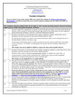 Exempt Review Categories Worksheet