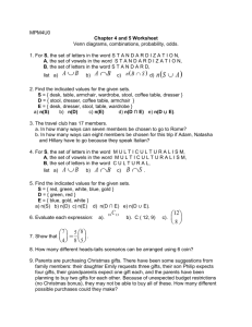MPM4U0 Chapter 4 and 5 Worksheet Venn diagrams, combinations