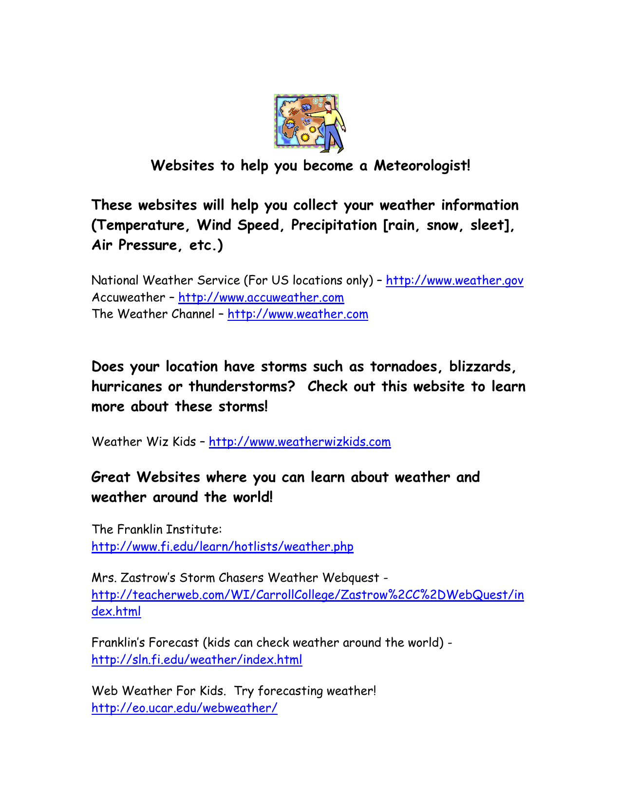 Websites for Teaching Weather: