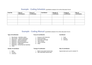 Example - Coding Schedule (for Quantitative Analysis of Online