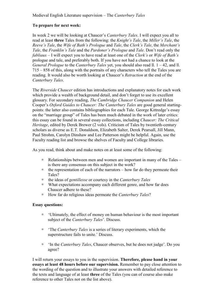 The Canterbury Tales  Example Of A Good Thesis Statement For An Essay also High School Essay Sample  Buy Book Reviews