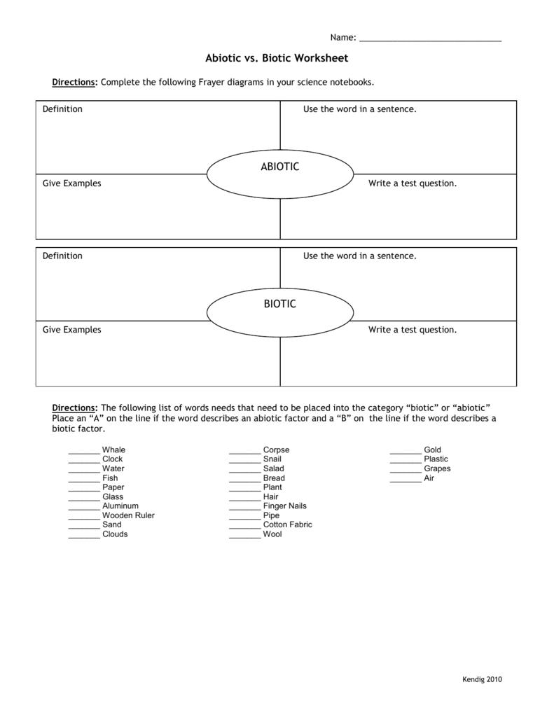 Worksheets Abiotic And Biotic Factors Worksheet abiotic