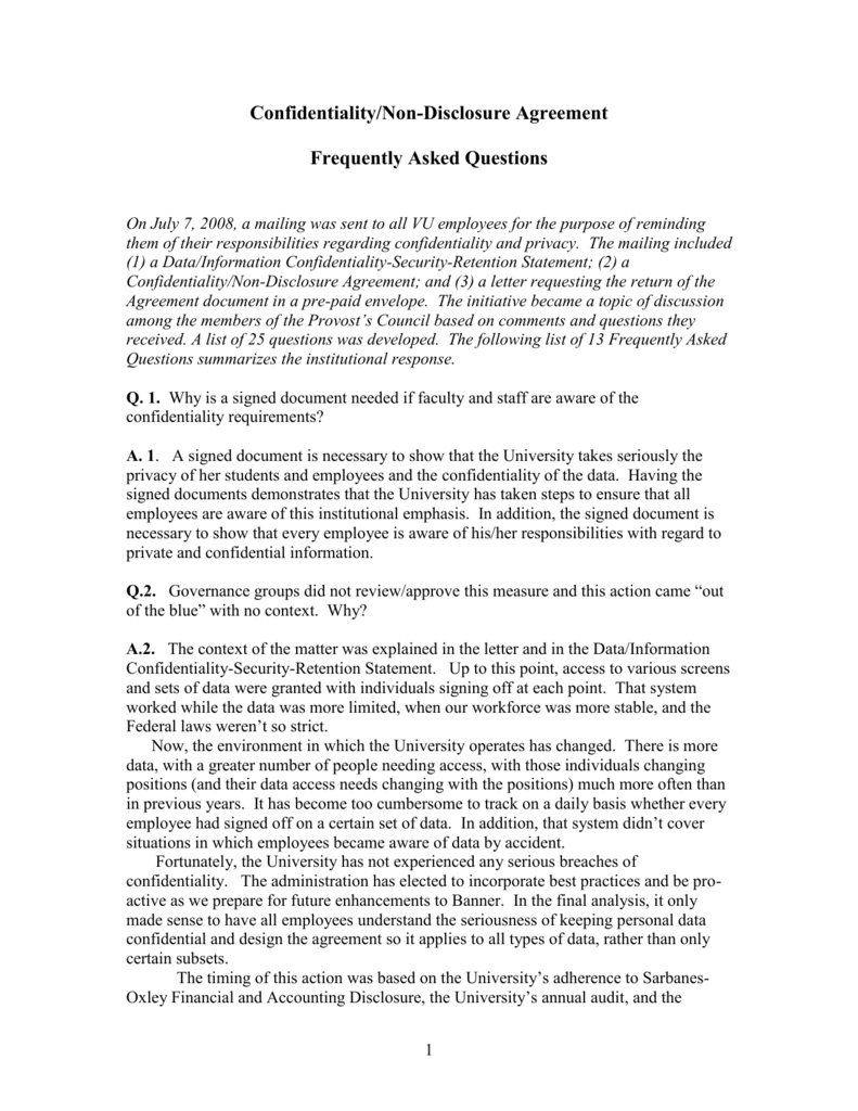 Confidentiality Non Disclosure Agreement