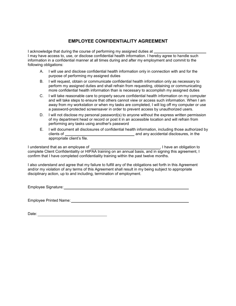 employee confidentiality agreement – Staff Confidentiality Agreement