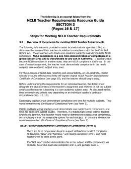 NCLB Teacher Requirements Resource Guide
