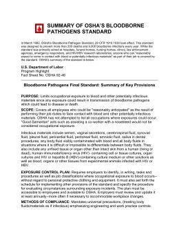 Fact sheet osha s bloodborne pathogens standard for Bloodborne pathogens policy template