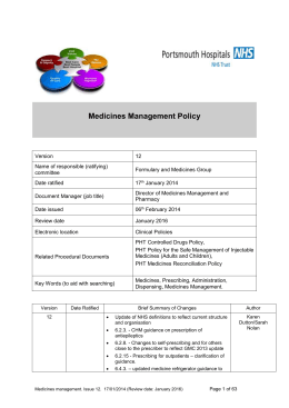 PHT Medicines Management Policy