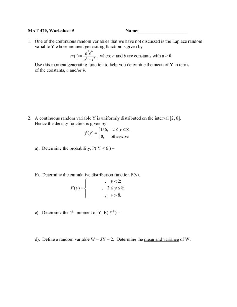 Continuous Random Variable worksheet