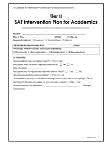 Intervention Plan for Academics