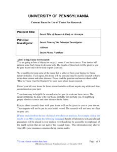 Consent Form for Use of Tissue For Research