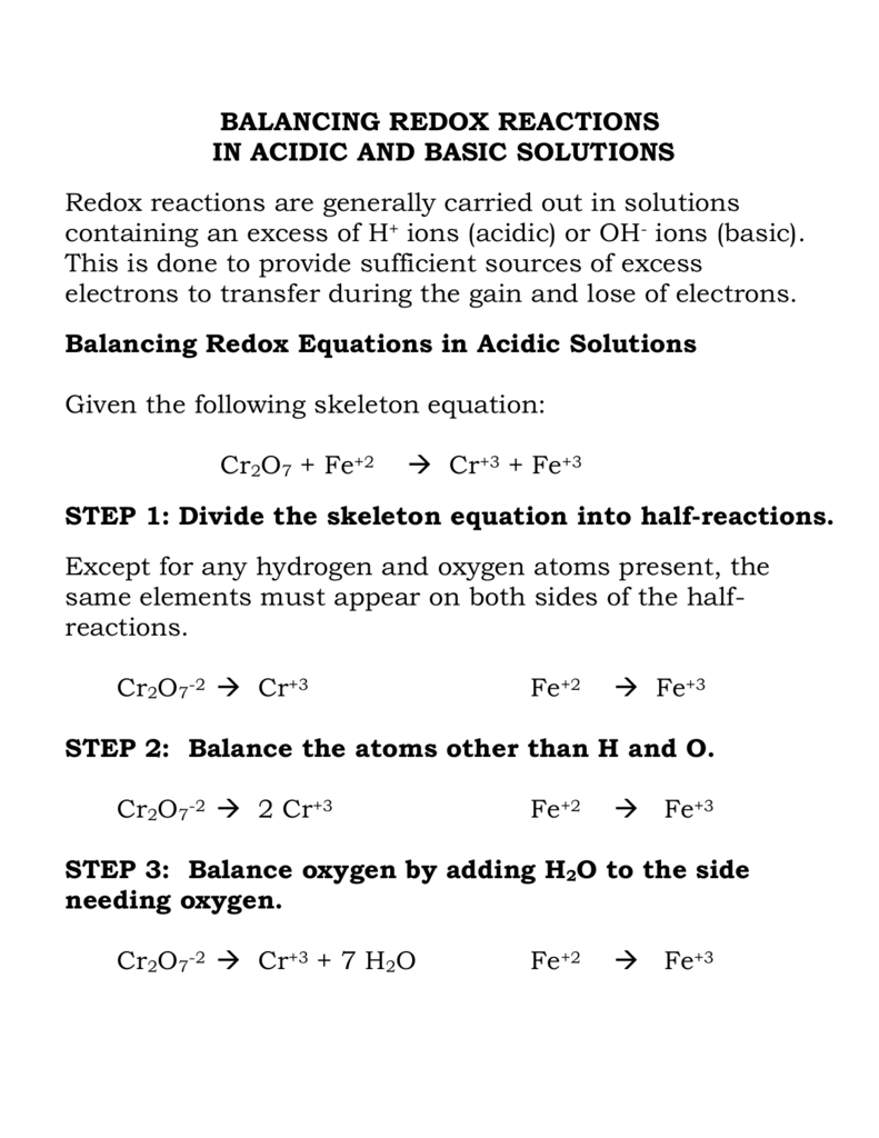 balancing redox reactions in acidic and basic solutions