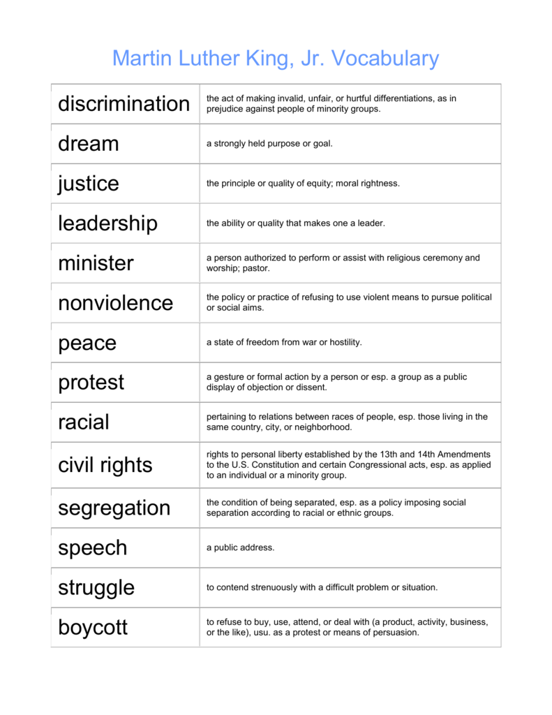 image about Leadership Quiz Printable known as Martin Luther King Vocabulary