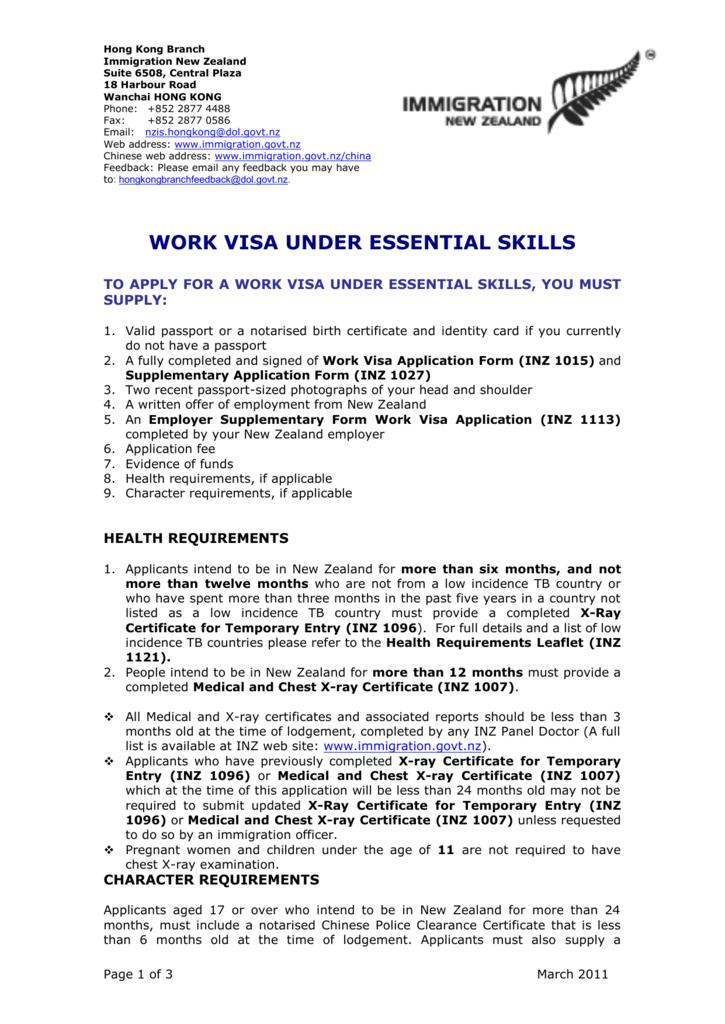 Work visa under essential skills yelopaper Image collections
