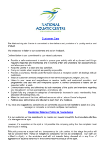 Customer Service Policy - National Aquatic Centre