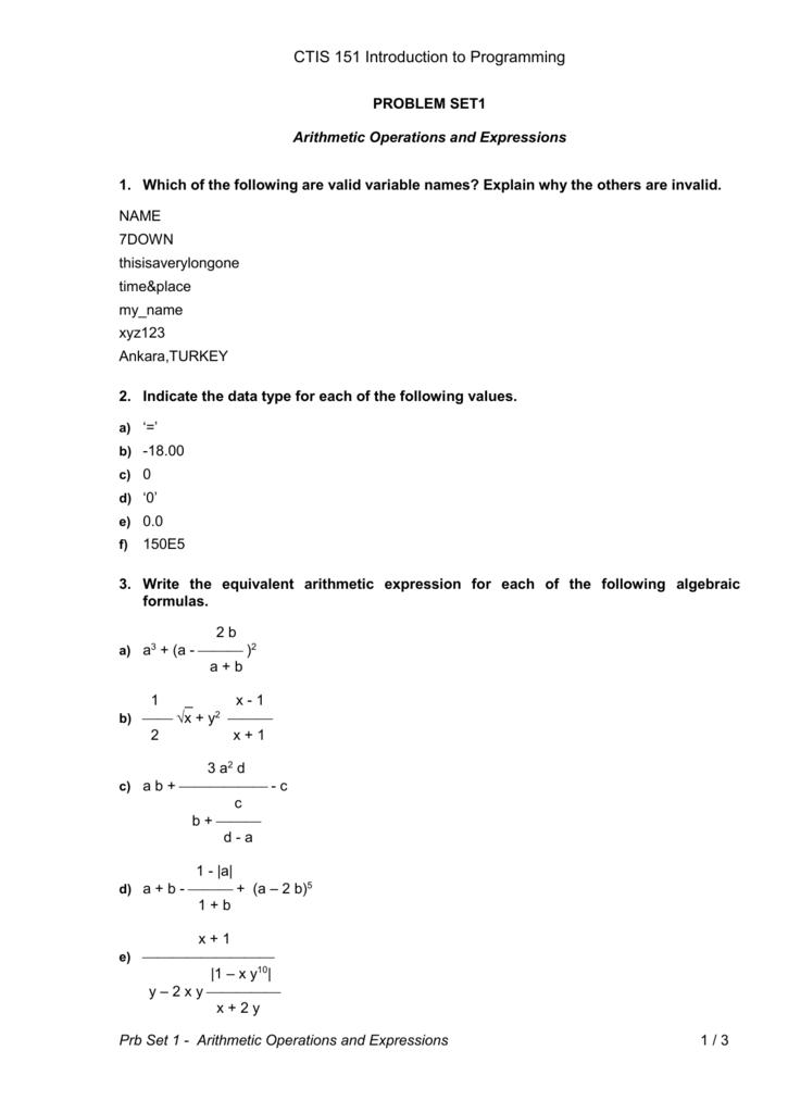 CTP 103 Problem Solving and Algorithms