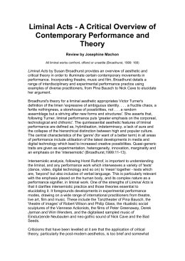 A Critical Overview of Contemporary Performance and Theory