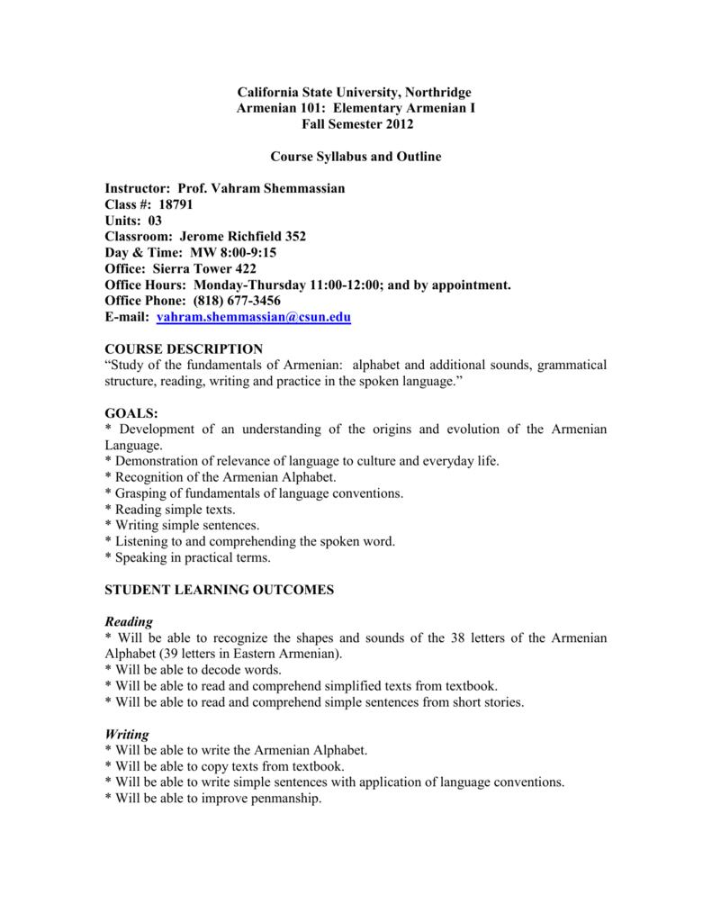 ARMN 101 (MW) - California State University, Northridge