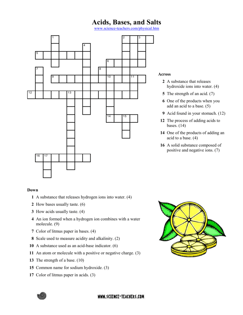 worksheet Note Taking Worksheet Acids Bases And Salts acids bases salts crossword