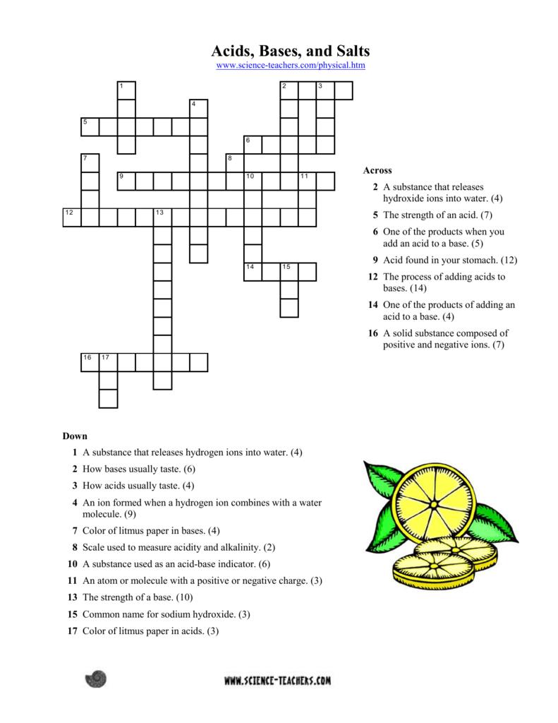 Acids, Bases, Salts Crossword