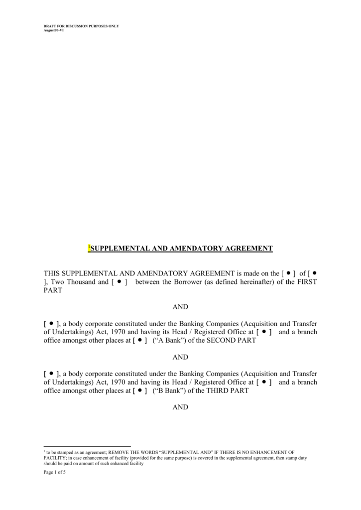 Supplemental Amendatory Agreement