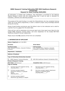 Application Form for Seed Funding for NMRC Fellowship/MOH