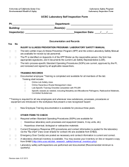 UCSC Laboratory Self Inspection Form