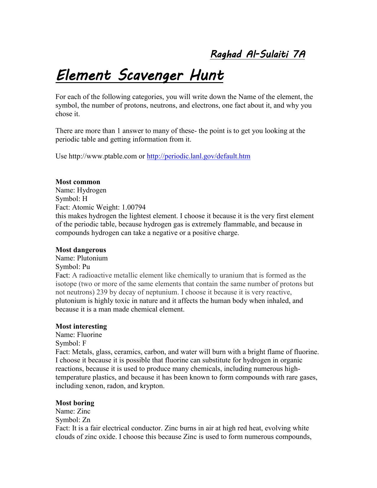 Element scavenger hunt urtaz