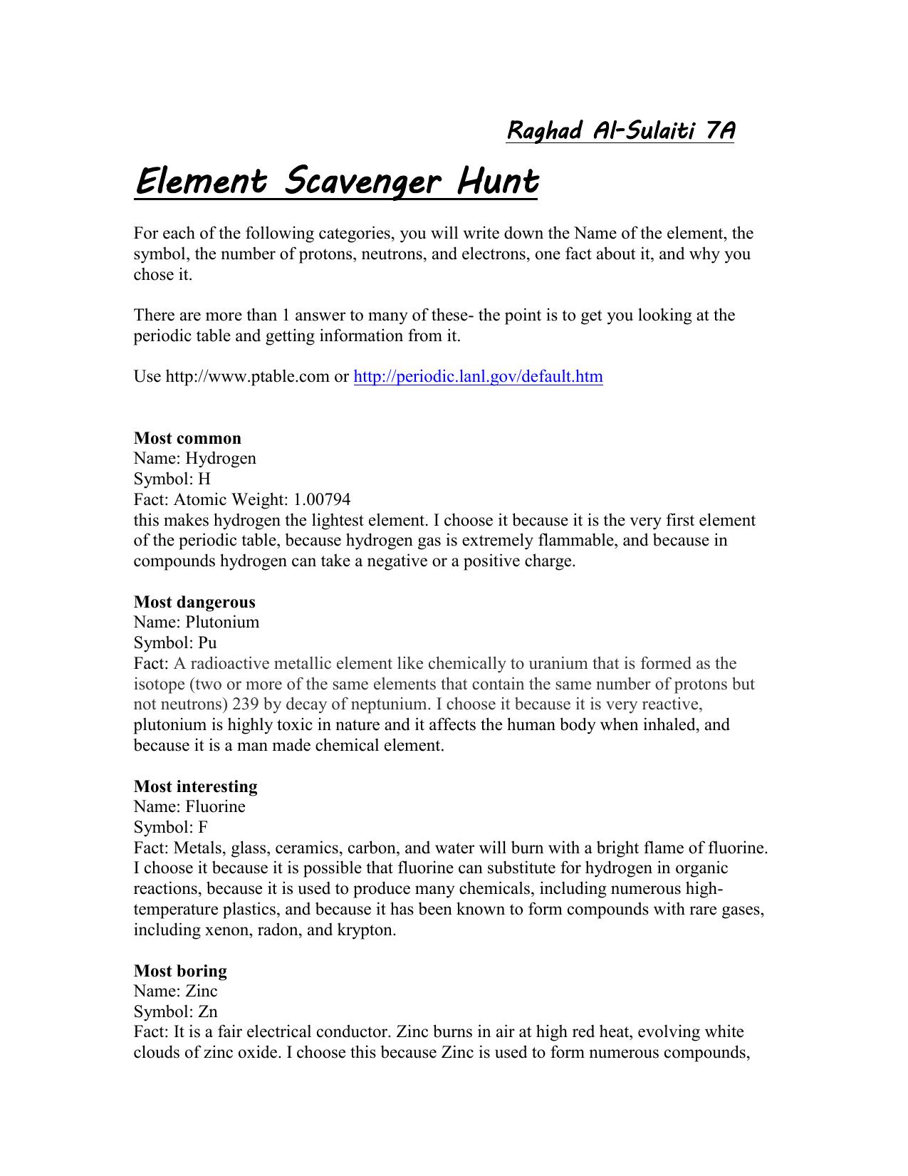 Element Scavenger Hunt