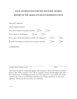 Dean`s Representative Report Form