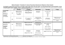 Medical Students` Timetables For General Psychiatry