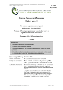 Level 3 History internal assessment resource