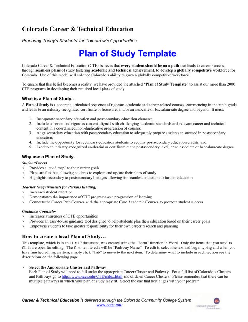 Plan Of Study Template Colorado State Plan CTE - Colorado will template