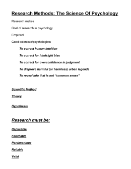 Research Methods: The Science Of Psychology