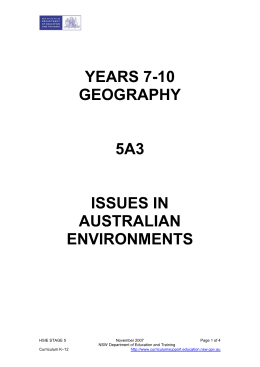 5A3 Issues in Australian Environments