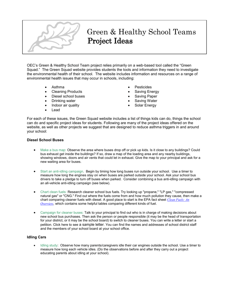 Project Ideas - Oregon Department of Education