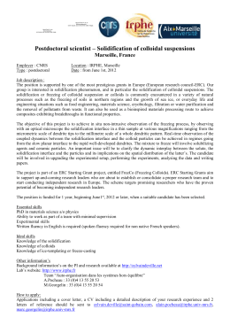 Postdoctoral scientist – Solidification of colloidal