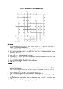BIOLOGY-Animal Diversity Vocab crossword (DOC 31KB)