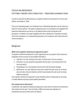 PUTTING THEORY INTO PRACTICE – TREATING CHRONIC PAIN