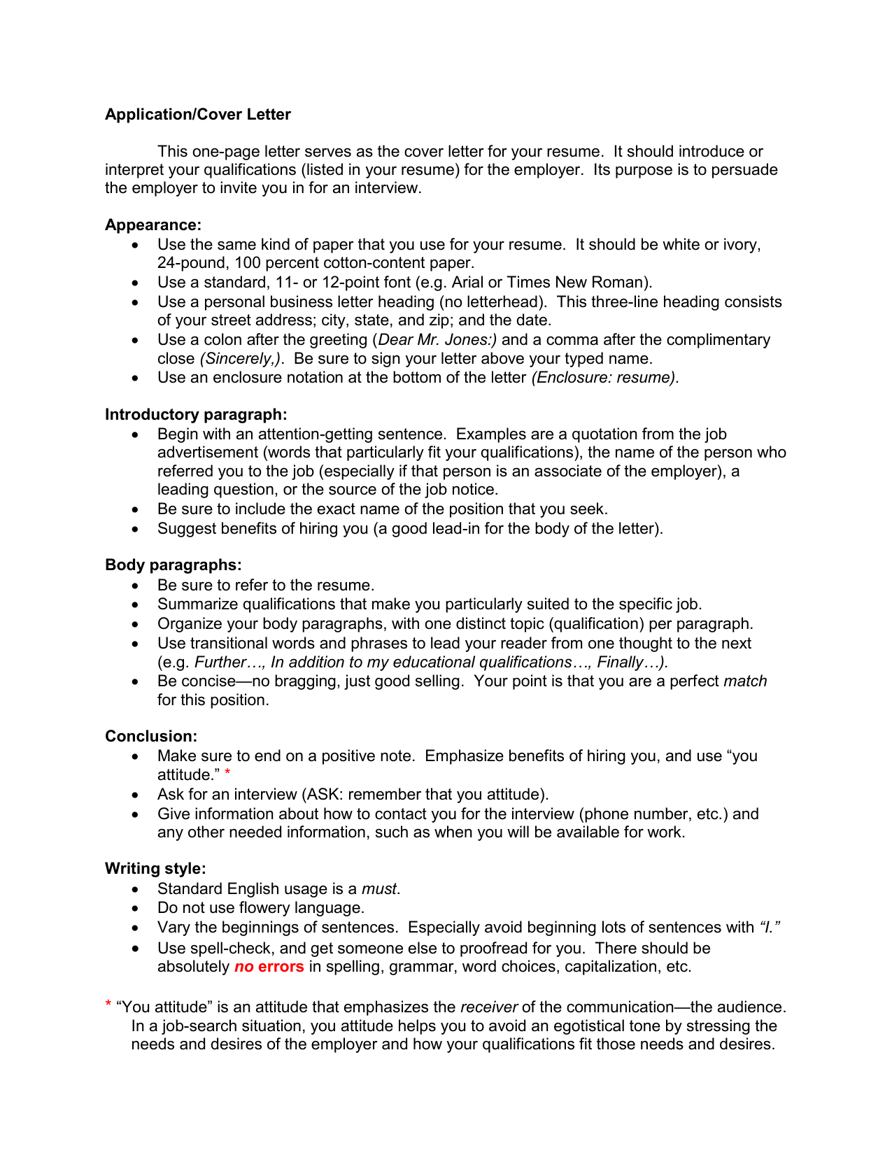 Application Cover Letter