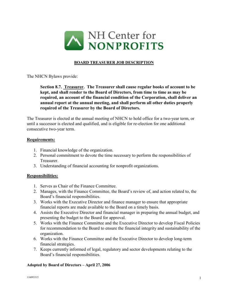 board treasurer job description – Treasurer Job Description
